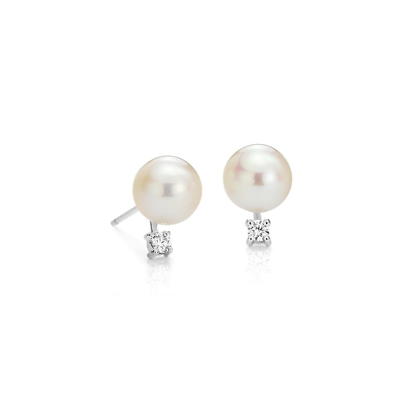 Freshwater Cultured Pearl and Diamond Stud Earrings in 14k White