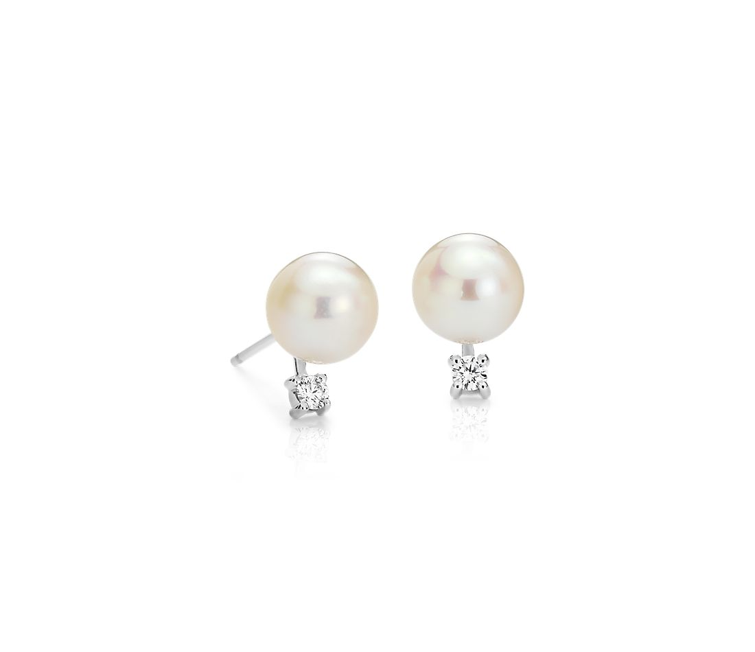 Freshwater Cultured Pearl And Diamond Stud Earrings In 14k White Gold 7 0 5mm