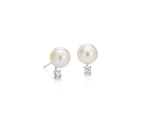 Freshwater Cultured Pearl and Diamond Stud Earrings in 14k White Gold (7.0-7.5mm)