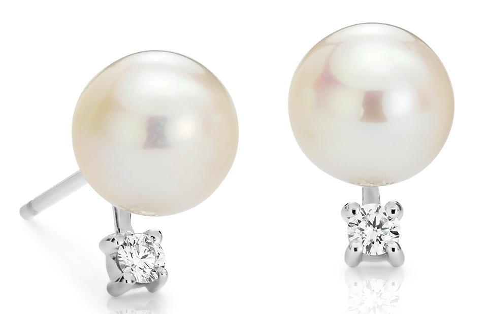 Aretes de diamante y perlas cultivadas de agua dulce en oro blanco de 14 k (7,0-7,5mm)