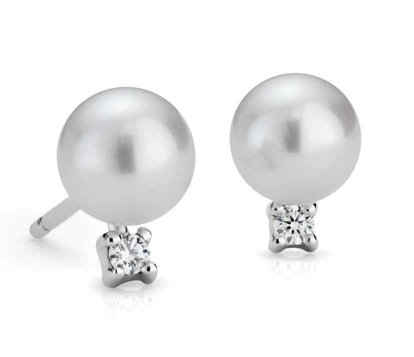 Freshwater Cultured Pearl and Diamond Stud Earrings in 14k White Gold (6.0-6.5mm)