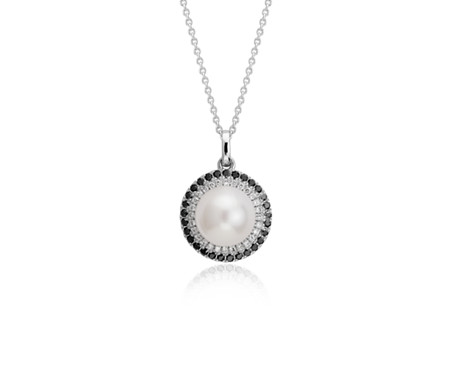 Blue Nile Freshwater Cultured Pearl Pendant with Black Diamond Triangle in 14k White Gold (7.5-8mm) rla3Wq