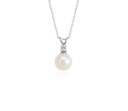 Freshwater Cultured Pearl and Diamond Pendant in 14k White Gold (8.0-8.5mm)