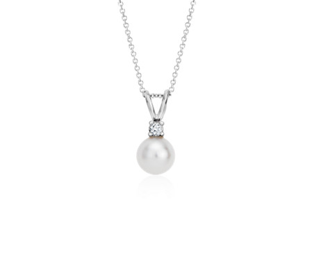 winterson freshwater pendant pearl white drop gold with diamond and in