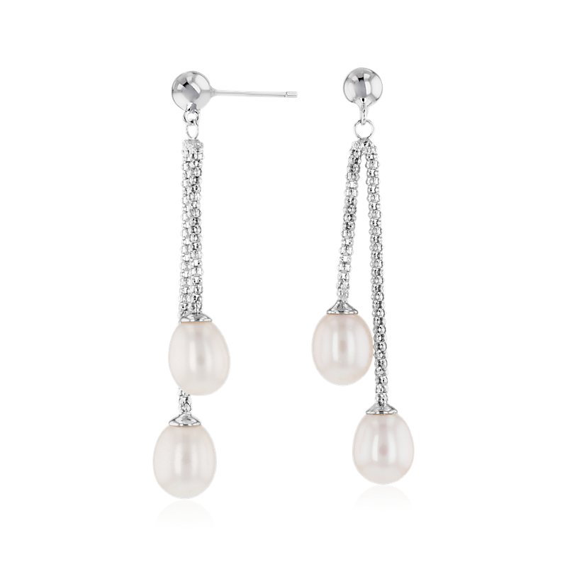Freshwater Cultured Pearl Double Drop Earrings in Sterling Silver (7.5-8mm)