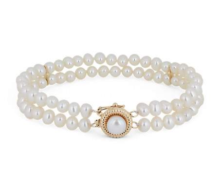 Double Row Freshwater Cultured Pearl Bracelet with Separators in 14k Yellow Gold (4-4.5mm)