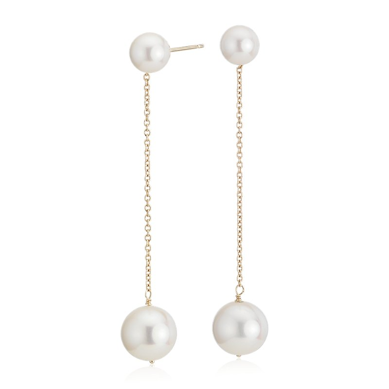 Freshwater Cultured Pearl Drop Earrings in 14k Yellow Gold (9-10m