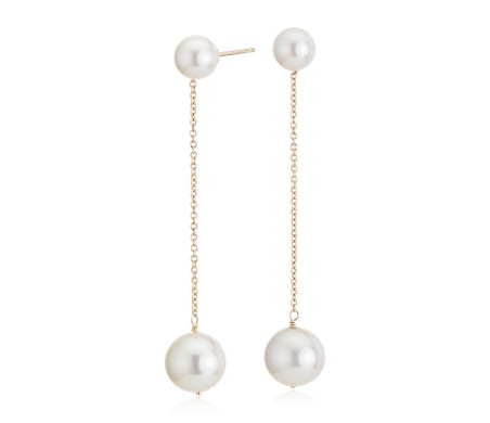 Freshwater Cultured Pearl Drop Earrings in 14k Yellow Gold (9-10mm)