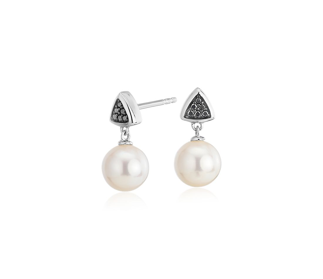 Freshwater Cultured Pearl Drop Earrings with Black Diamond Triangle in 14k White Gold (7-7.5mm)