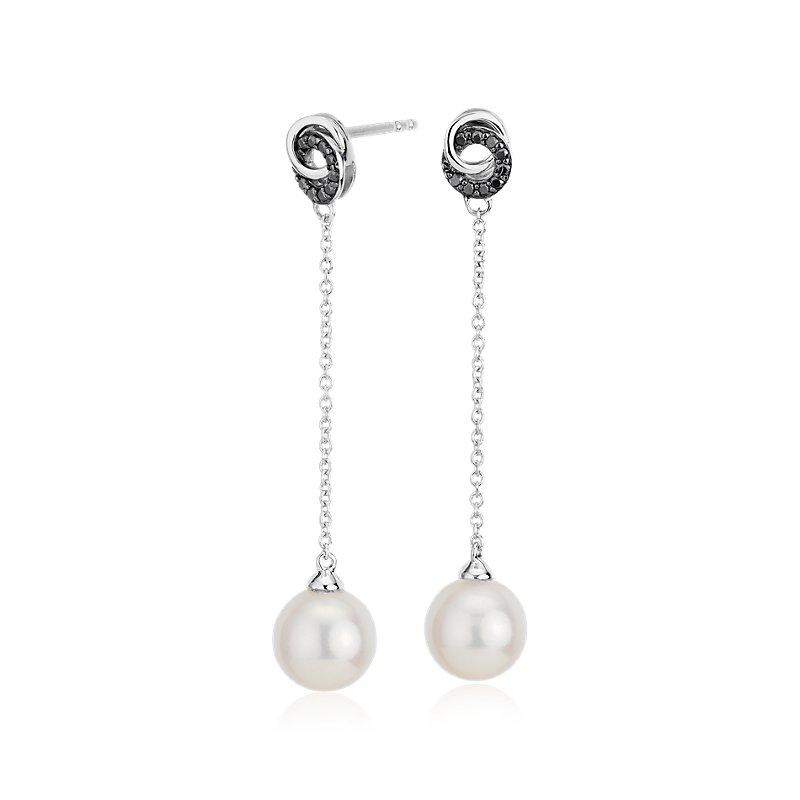 Freshwater Cultured Pearl Drop Earrings with Black Diamond Love K