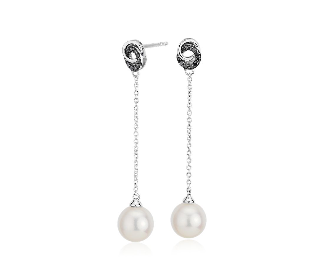 Freshwater Cultured Pearl Drop Earrings with Black Diamond Love Knot in 14k White Gold (7.5-8mm)