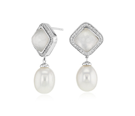 925 纯银淡水养殖珍珠和珍珠母吊式耳环<br>(9-10毫米)