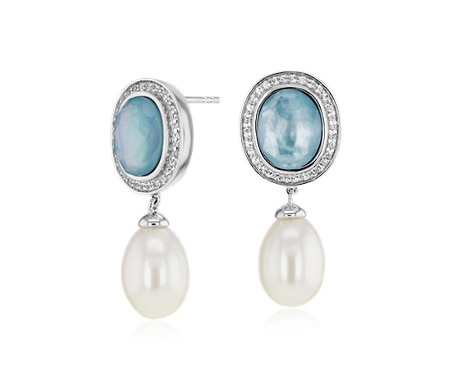 Freshwater Cultured Pearl and Blue Mother of Pearl Drop Earrings in Sterling Silver (9-10mm)