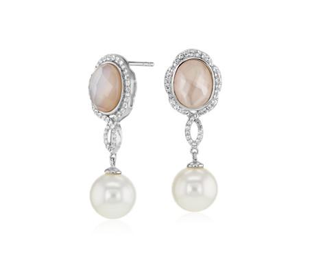 925 纯银淡水养殖珍珠和粉色珍珠母吊式耳环<br>(9-10毫米)