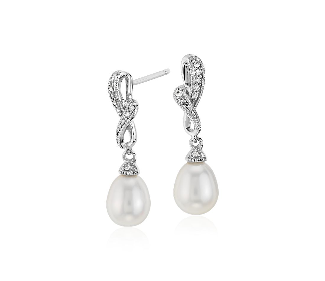 Freshwater Cultured Pearl And Diamond Drop Earrings In 14k White Gold 6 5mm