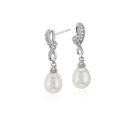 Freshwater Cultured Pearl and Diamond Drop Earrings in 14k White Gold (6.5mm)