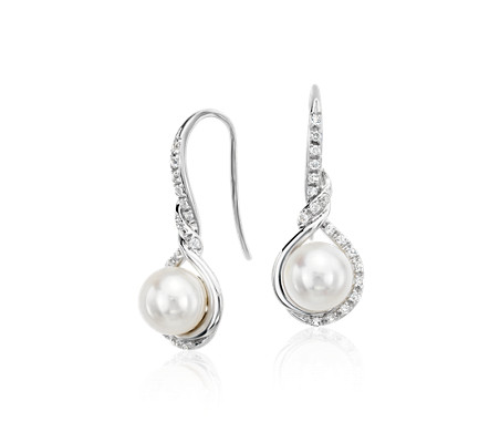 Freshwater Cultured Pearl and White Sapphire Drop Earrings in 14k White Gold (6.5mm)