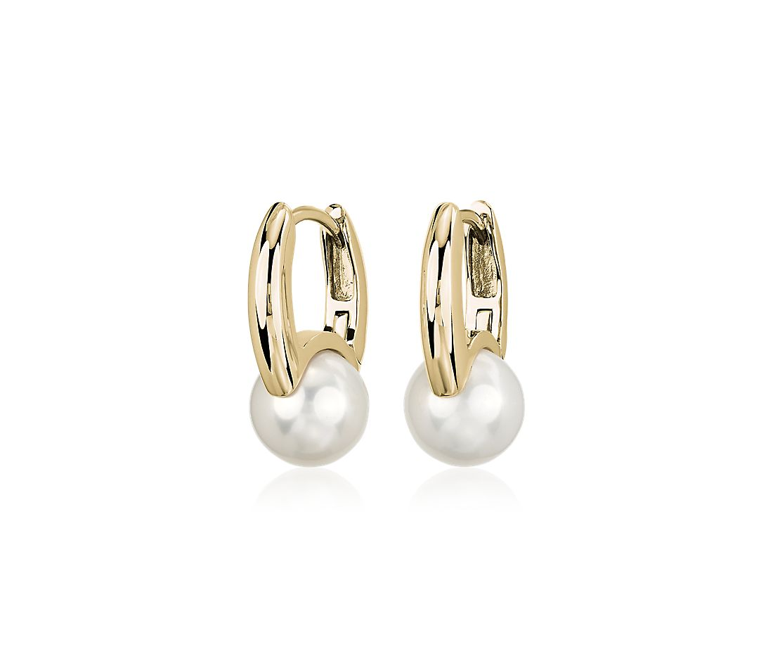 Freshwater Cultured Pearl Drop Fashion Earrings in 14k Yellow Gold (8-9mm)
