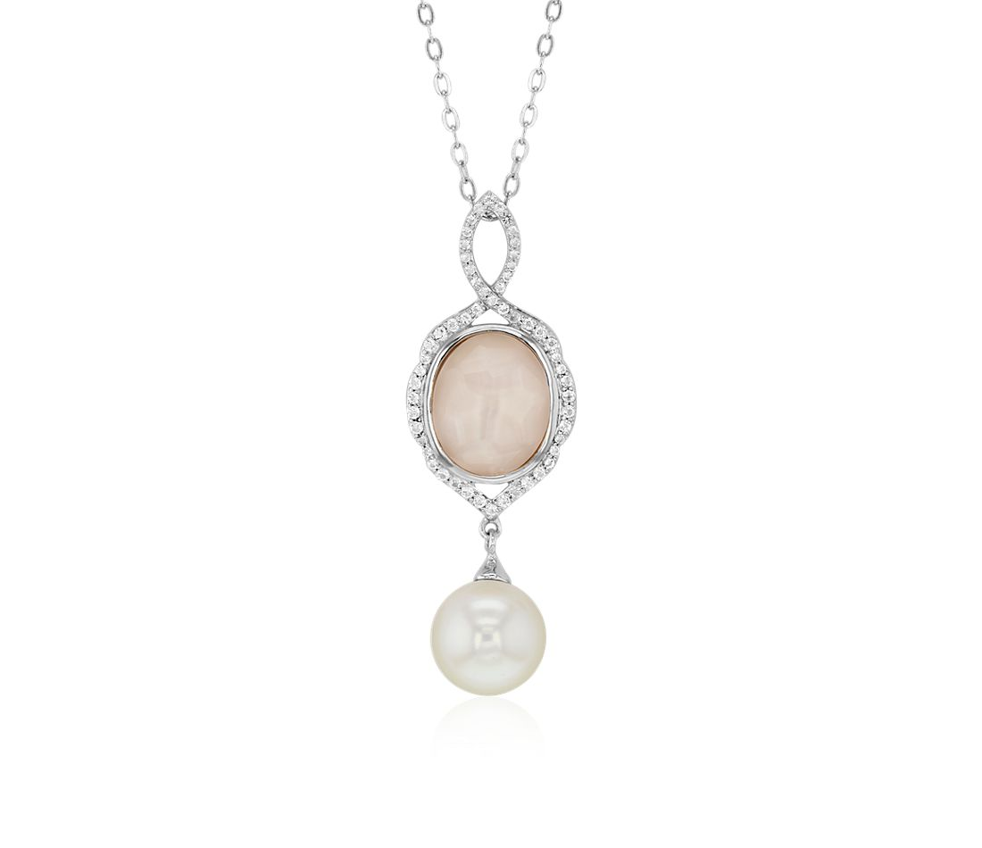 Perla cultivada de agua dulce & Pink Mother of Pearl Quartz Doublet Pendant in plata de ley (8-9 mm)