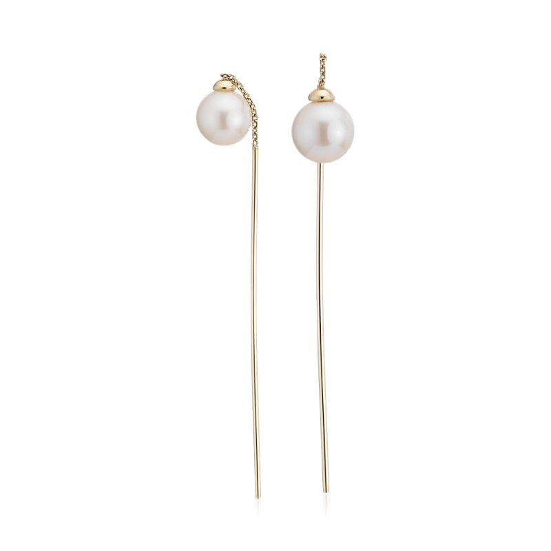 Front-Back Freshwater Cultured Pearl Drop Threader Earring in 14k