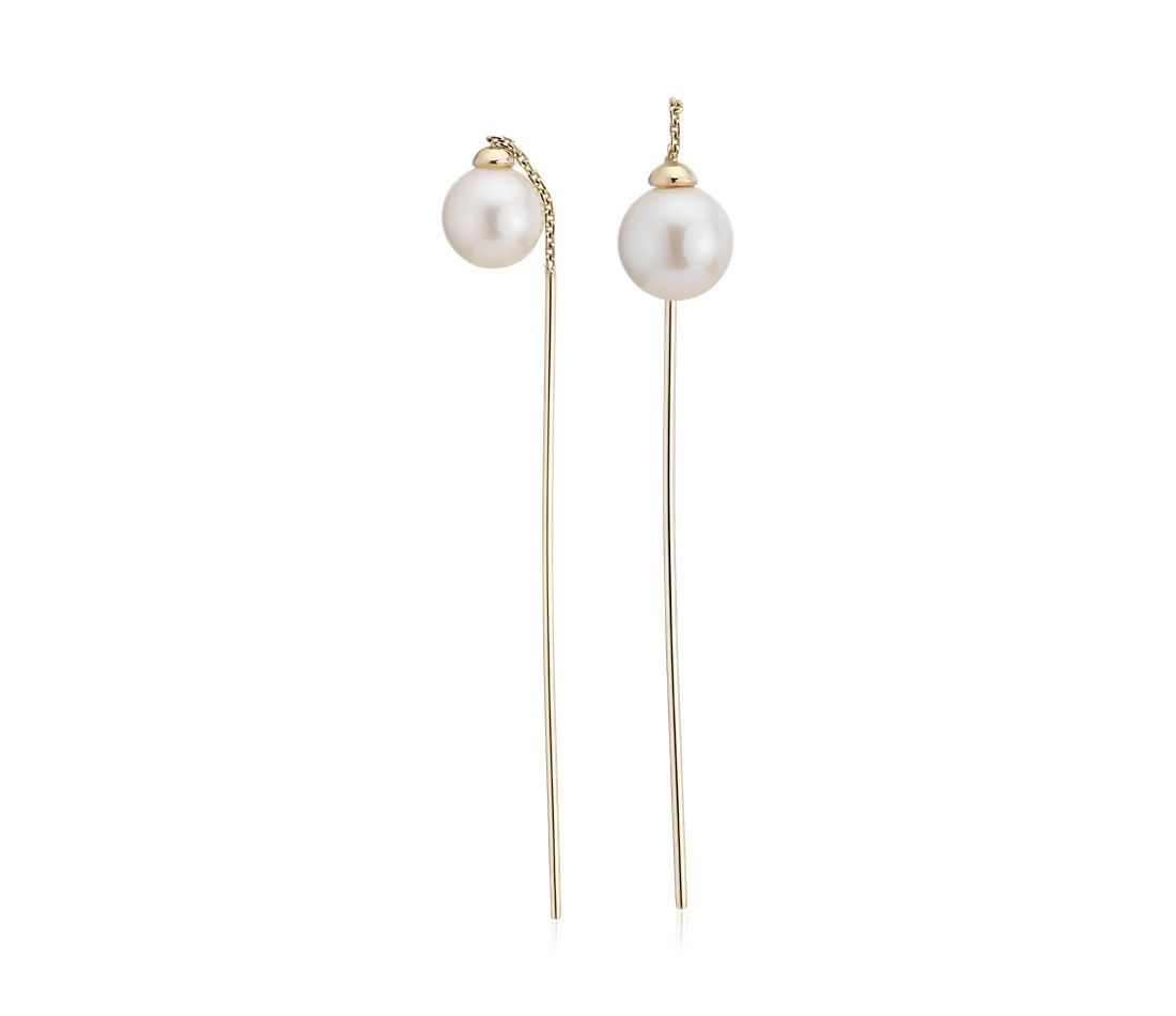 Front-Back Freshwater Cultured Pearl Drop Threader Earring in 14k Yellow Gold (6-7mm)