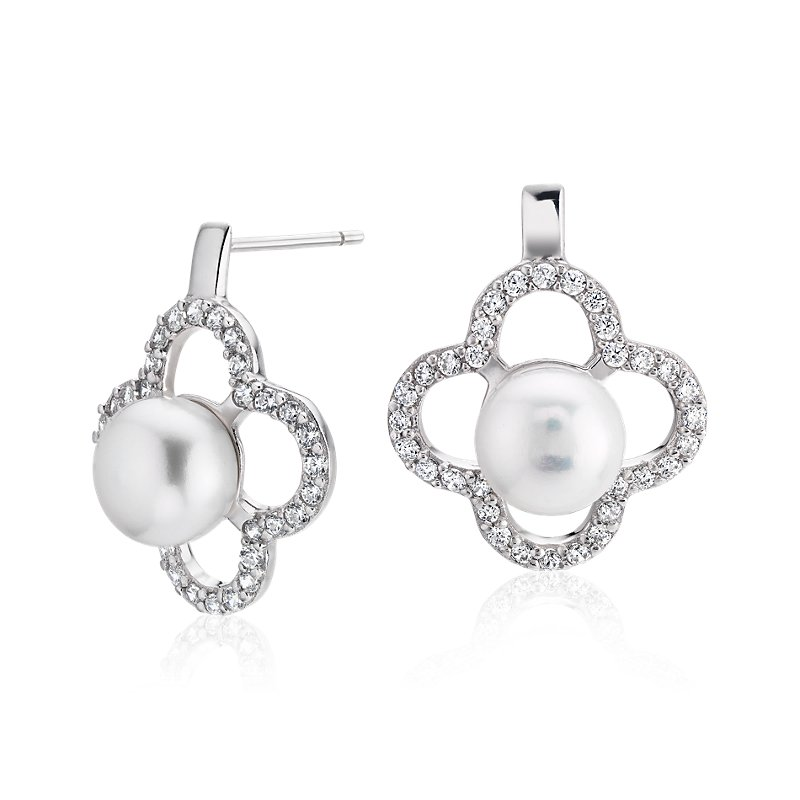 Freshwater Cultured Pearl Earrings with White Topaz Clover Halo i