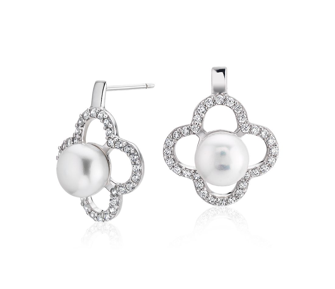 Freshwater Cultured Pearl Earrings with White Topaz Clover Halo in Sterling Silver (8-9mm)