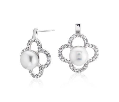 Boucles d'oreilles perle de culture d'eau douce avec halo trèfle de topazes blanches en argent sterling (8-9mm)