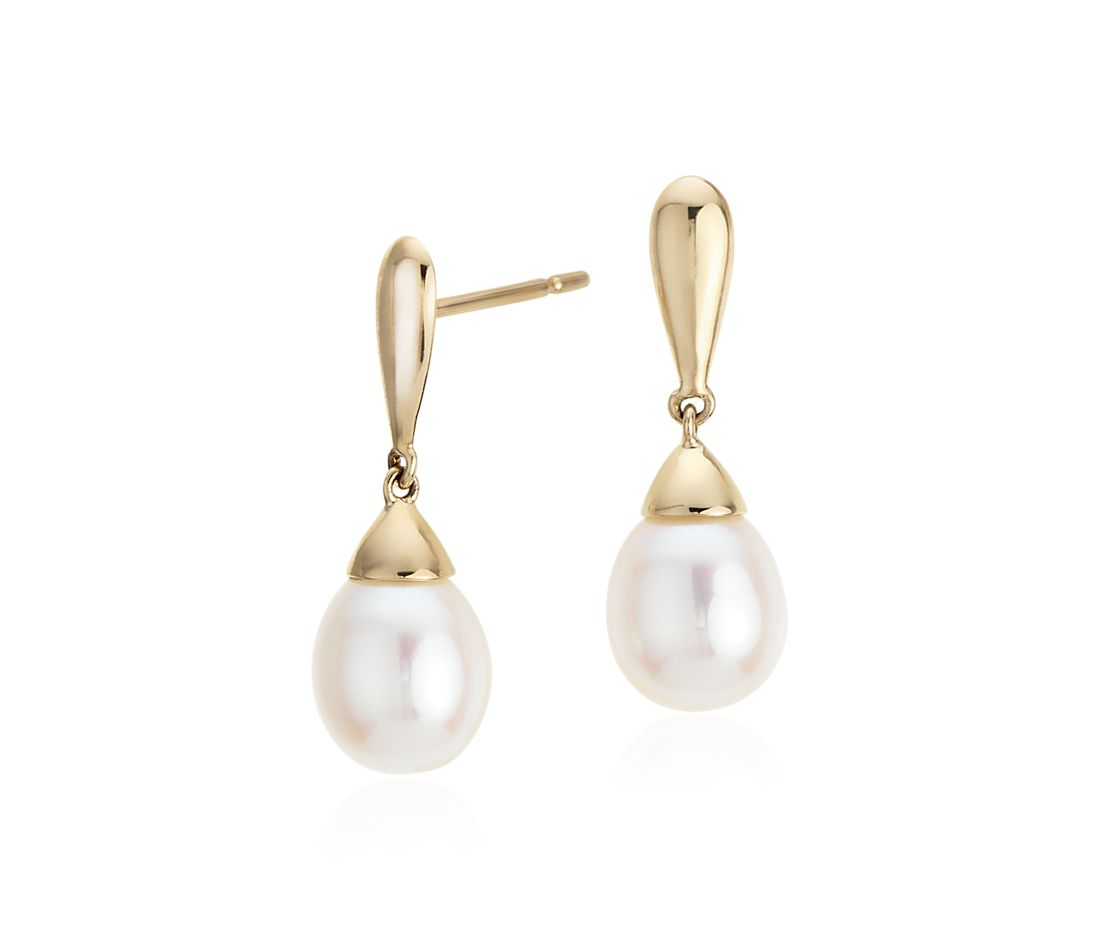 freshwater cultured pearl teardrop earrings in 14k yellow