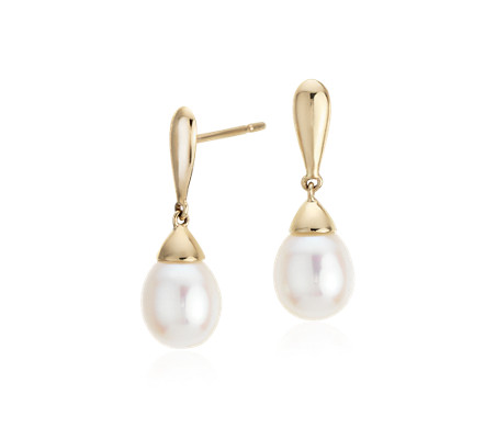 Freshwater Cultured Pearl Teardrop Earrings In 14k Yellow Gold 7 5mm