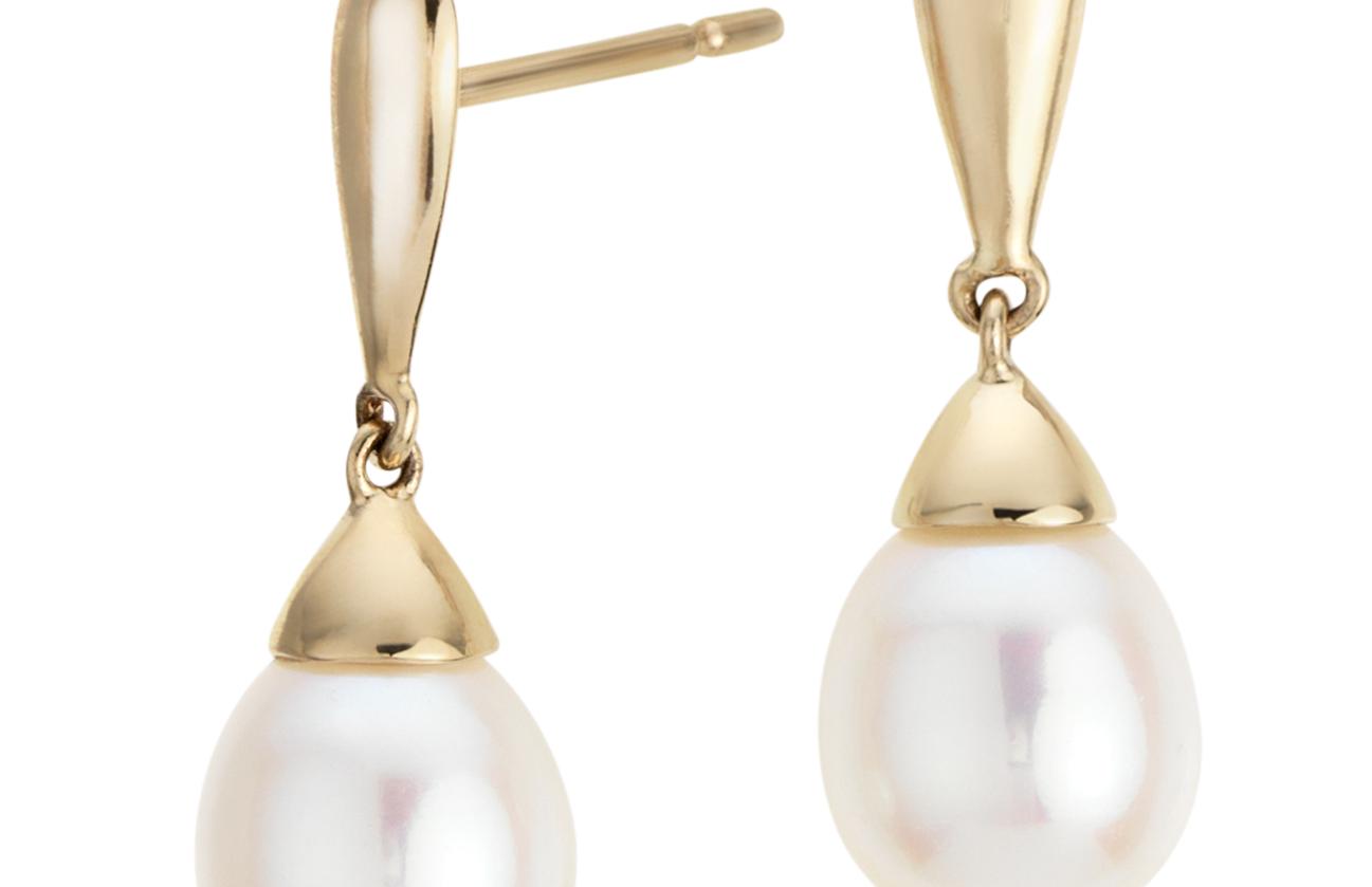 Aretes con forma de lágrima de perla cultivada de agua dulce en oro amarillo de 14k (7,5mm)