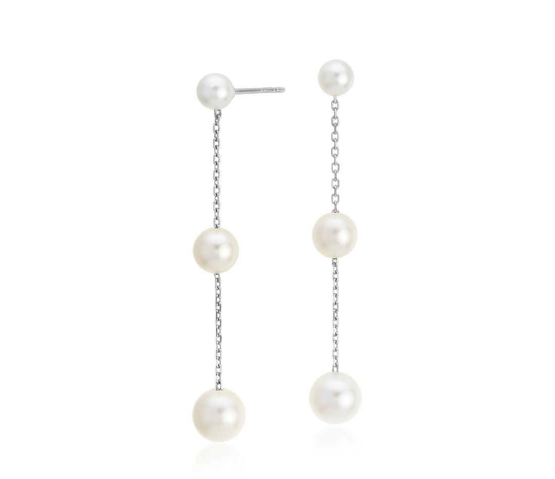 Freshwater Cultured Pearl Triple Drop Earrings In 14k