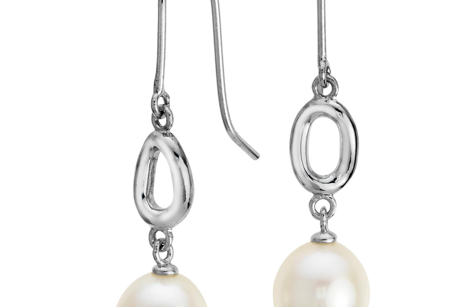 Aretes Infinito de perlas cultivadas de agua dulce en plata de ley (8,5mm)