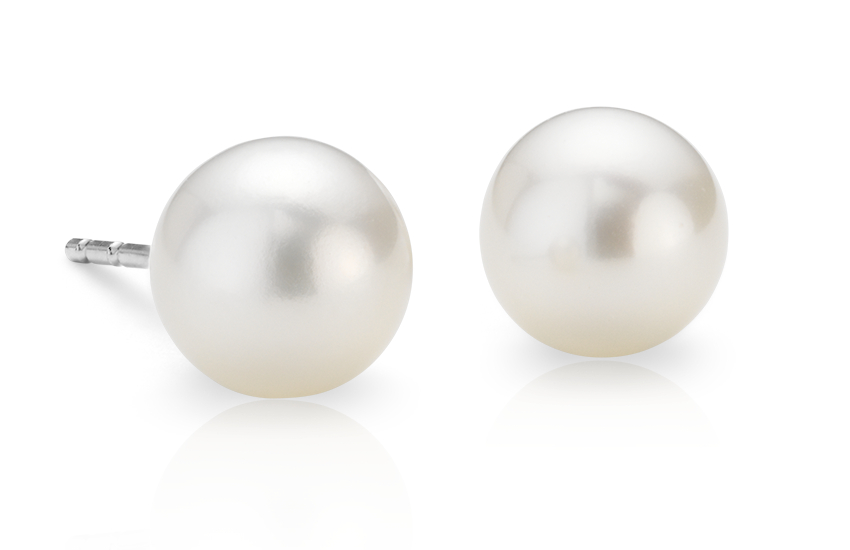 Freshwater Cultured Pearl Stud Earrings in 14k White Gold (6mm)
