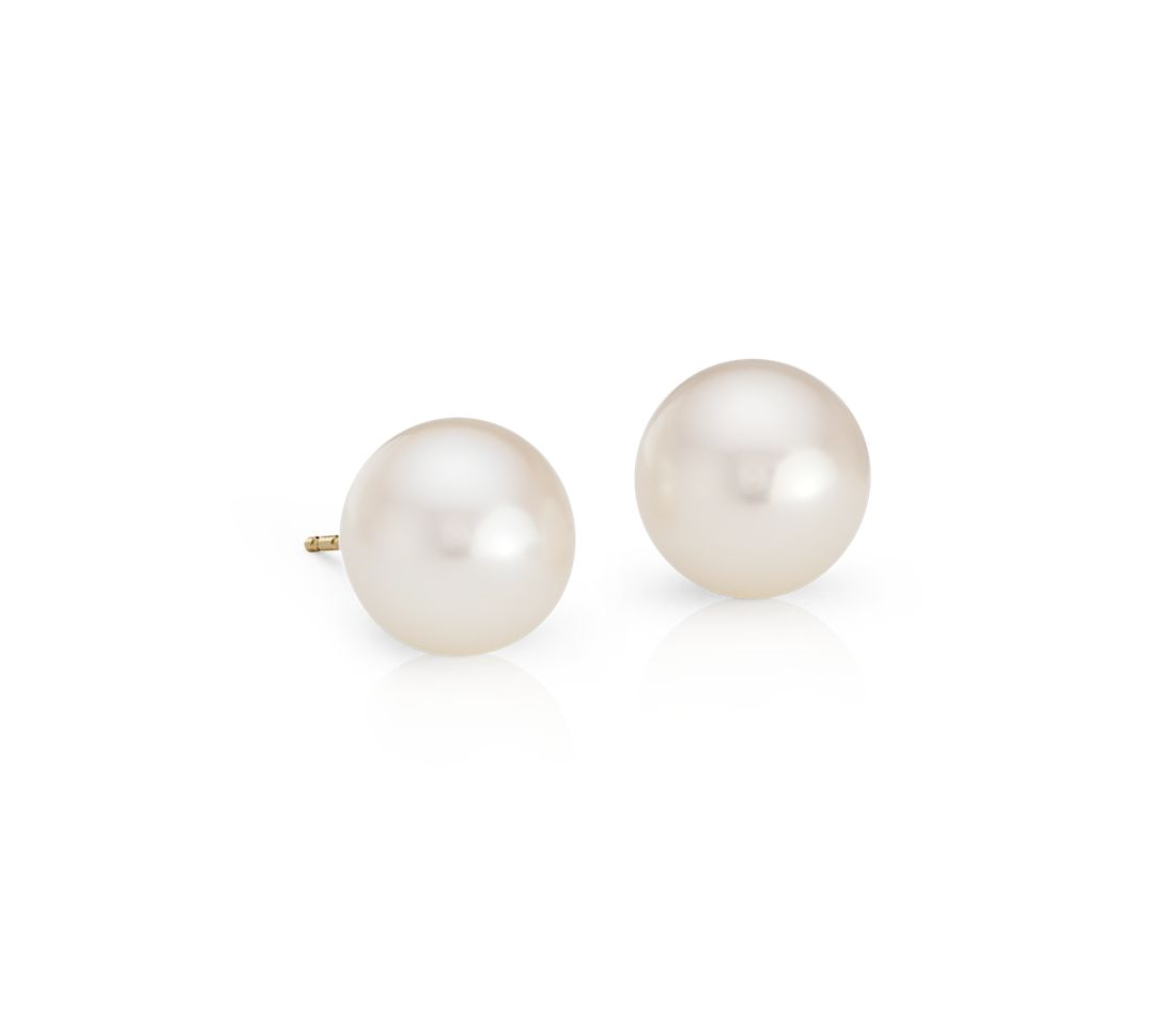 Freshwater Cultured Pearl Stud Earrings in 14k Yellow Gold (9mm)