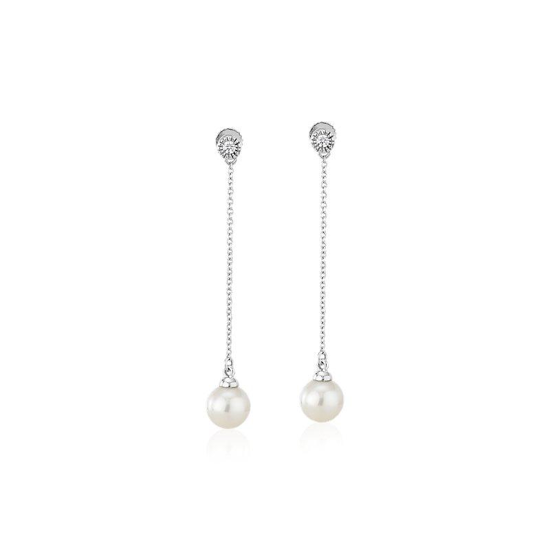 Freshwater Cultured Pearl Drop Earrings with Bezel-Set Diamond in