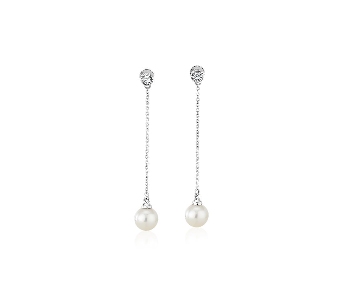 Freshwater Cultured Pearl Drop Earrings with Bezel-Set Diamond in 14k White Gold (7-7.5mm)