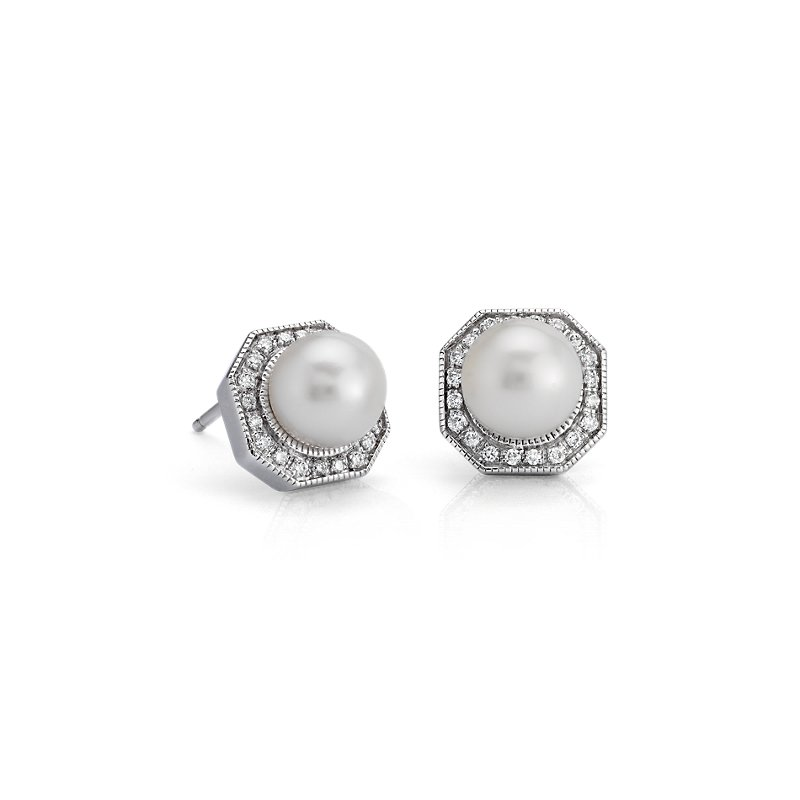Freshwater Cultured Pearl Stud Earrings with Diamond Hexagon Halo