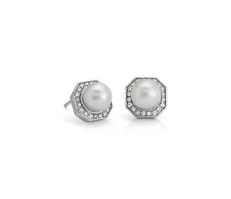 14k 白金淡水养殖珍珠与钻石六边光环耳钉<br>(6-7毫米)