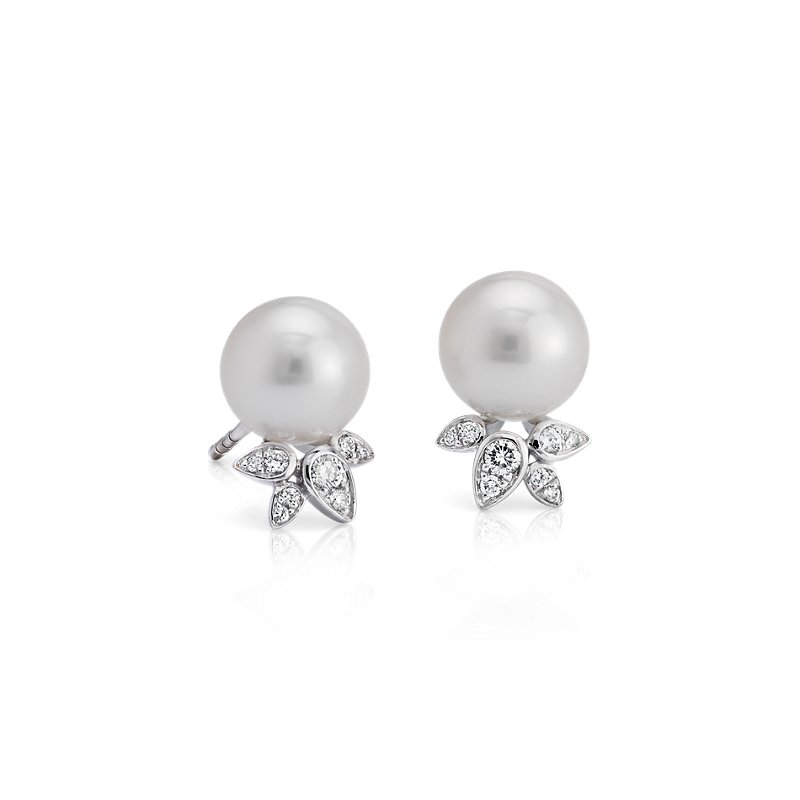 Freshwater Cultured Pearl Earrings with Diamond Leaf Detail in 14