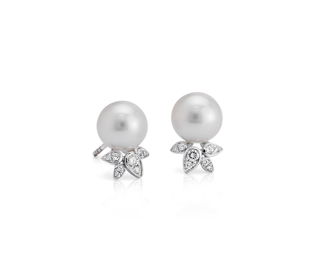 Freshwater Cultured Pearl Earrings with Diamond Leaf Detail in 14k White Gold (8-8.5mm)