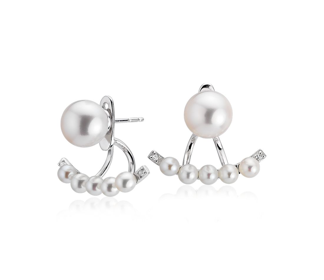 Freshwater Cultured Pearl Earrings with Smile Jacket in Sterling Silver (3-8mm)