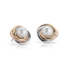 Tri-Colour Love Knot Earrings with Freshwater Cultured Pearls in 14k White, Yellow and Rose Gold (6-7mm)