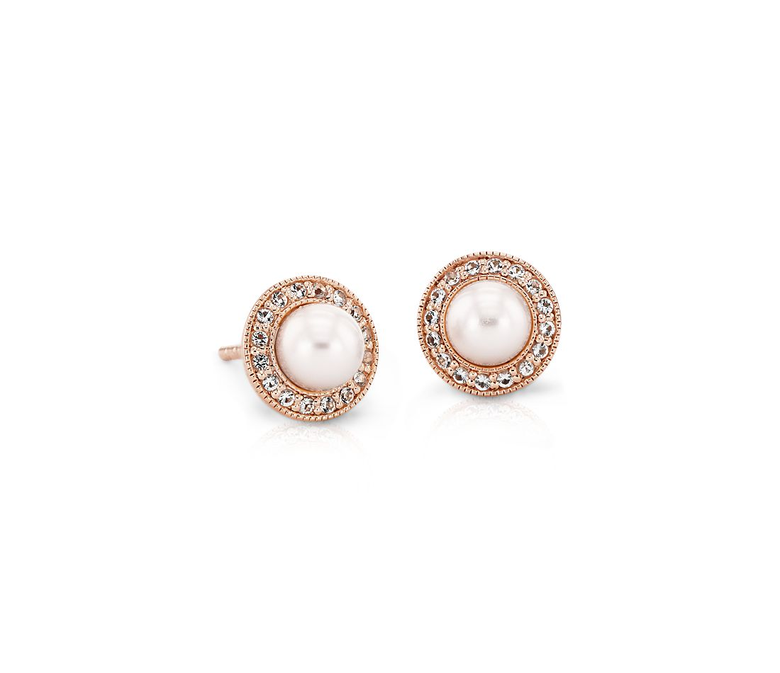 79926961d Vintage-Inspired Freshwater Cultured Pearl and White Topaz Halo Earrings in 14k  Rose Gold (5mm) | Blue Nile