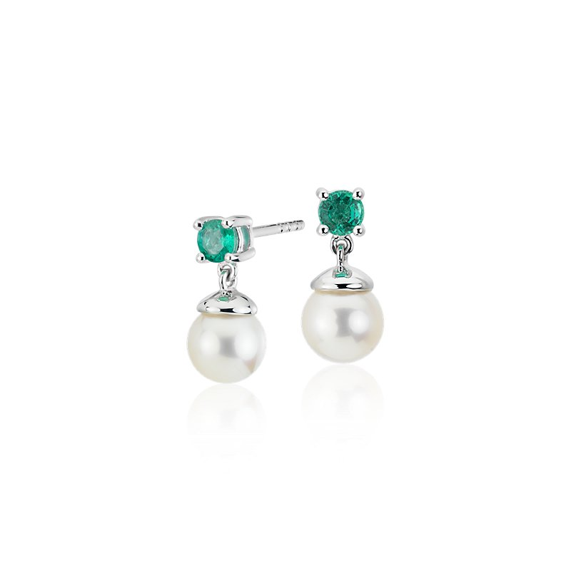 Freshwater Cultured Pearl and Emerald Drop Earrings in 14k White