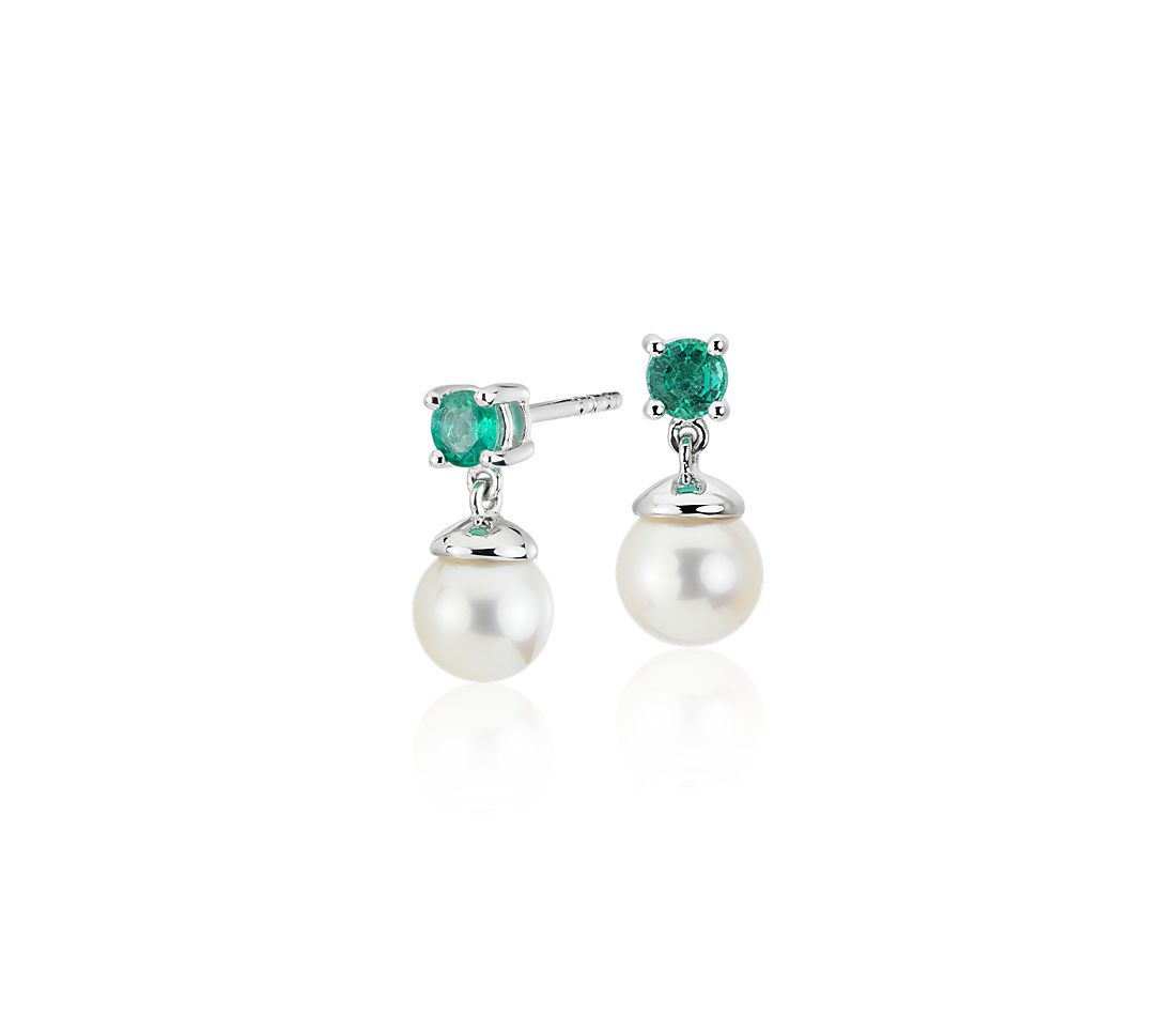 Freshwater Cultured Pearl And Emerald Drop Earrings In 14k White Gold 6 5mm