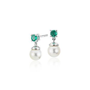 NEW Freshwater Cultured Pearl and Emerald Drop Earrings in 14k White Gold (6-6.5mm)