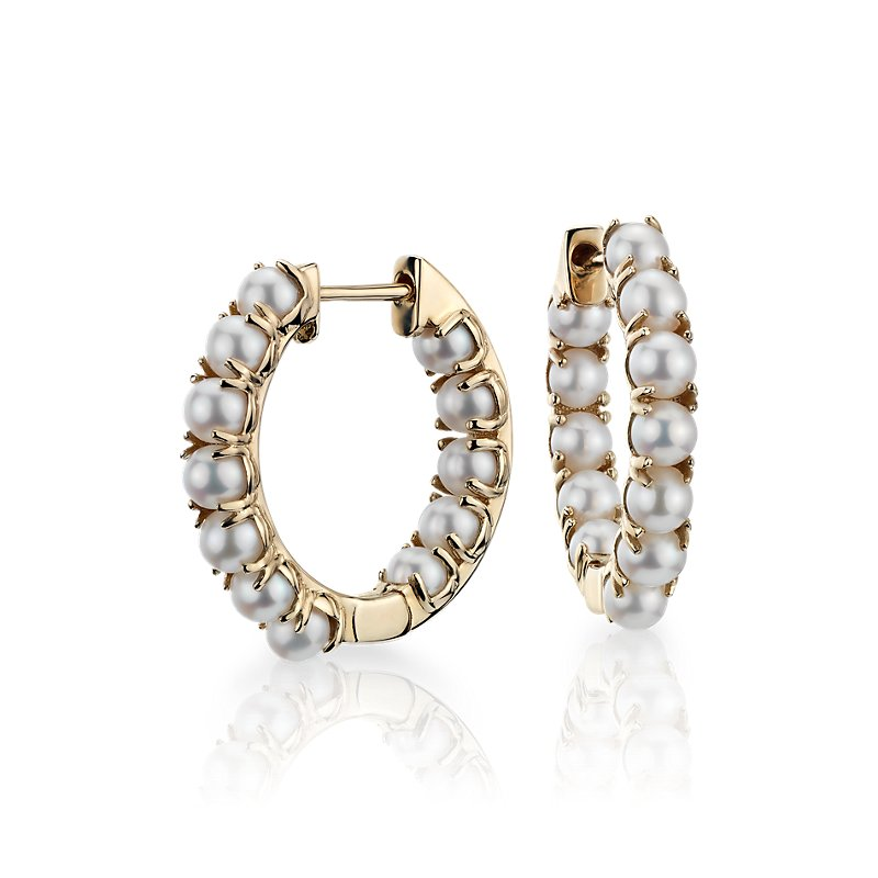 Freshwater Cultured Pearl Hoop Earrings in 14k Yellow Gold (3-3.5