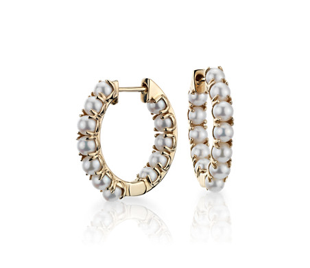 Freshwater Cultured Pearl Hoop Earrings in 14k Yellow Gold (3-3.5mm)