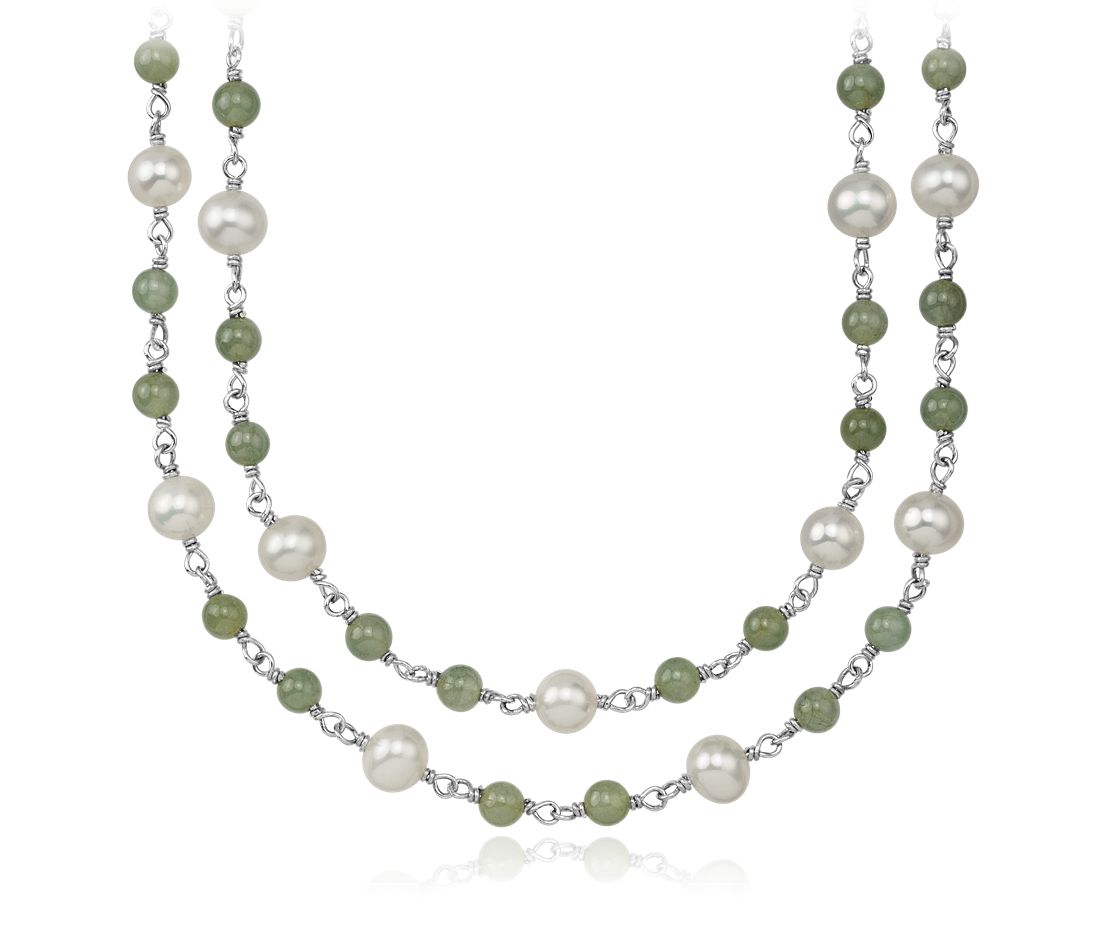 Jade Nile freshwater cultured pearl and jade necklace in sterling silver - 52'' long